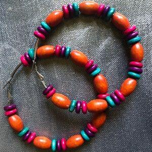 Bohemian style hoop statement earrings